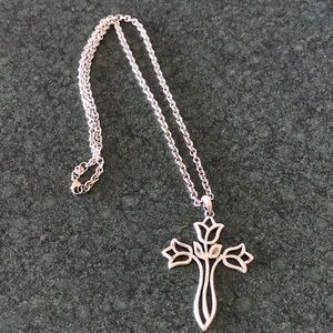 Jewelry - NWOT! Rose cross pendent